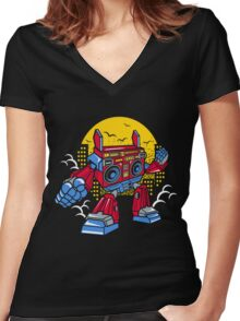 Boom Box Robot Women's Fitted V-Neck T-Shirt