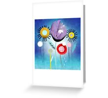 Blue Ombre Floral Art Greeting Card
