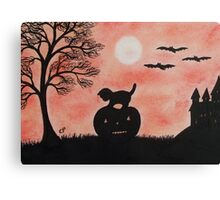 Halloween Cat on Pumpkin with Bats and Tree Canvas Print
