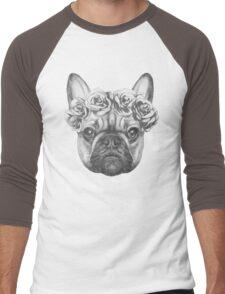 French Bulldog with roses Men's Baseball ¾ T-Shirt
