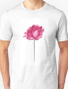 Peony Floral Watercolor Painting Illustration Magenta Pink Flower Unisex T-Shirt