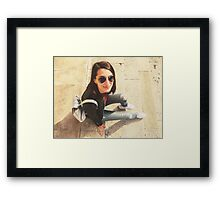 Young Beautiful Girl Posing In Autumn Outfit Framed Print