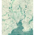 New Haven Map Blue Vintage by HubertRoguski