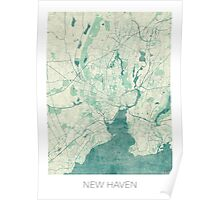New Haven Map Blue Vintage Poster