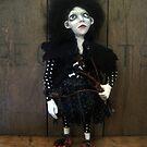 Posey the Goth Halloween Florist Art figure art doll ooak sculpture by LindaAppleArt