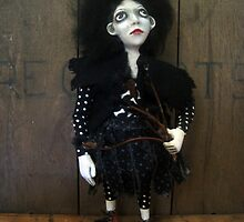 Posey the Goth Halloween Florist Art figure art doll ooak sculpture by LindaAppleArt