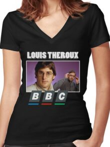 Louis Theroux Print Women's Fitted V-Neck T-Shirt