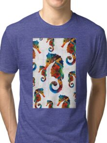 Colorful Seahorse Collage Art by Sharon Cummings Tri-blend T-Shirt