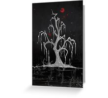 Red Moon White Willow Greeting Card