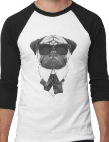 Pug In Black Men's Baseball ¾ T-Shirt