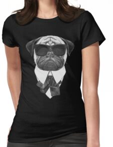 Pug In Black Womens Fitted T-Shirt