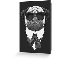 Pug In Black Greeting Card