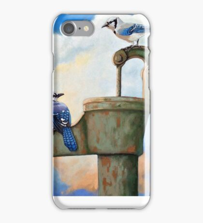 Blue Jays on Old Water Pump Bird realistic animal portrait painting iPhone Case/Skin