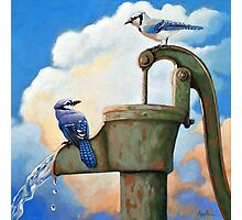 Blue Jays on Old Water Pump Bird realistic animal portrait painting Photographic Print