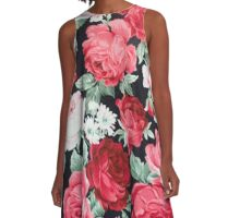 Shabby chic,black,red,roses,pink,green,floral,flowers,elegant,chic,country chic A-Line Dress
