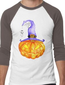 Halloween pumpkin. Jack O Lantern Men's Baseball ¾ T-Shirt