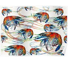 Bright Colorful Shrimp Collage Art by Sharon Cummings Poster