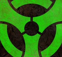 Aged and Beaten Biohazard Symbol Green - Apocalypse Nerd Sticker