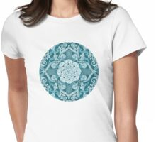 Centered Lace - Teal Womens Fitted T-Shirt