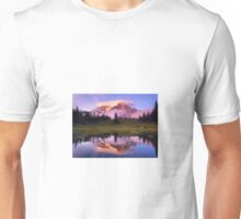 A REFLECTION OF MT. RAINIER IN THE WATER Unisex T-Shirt