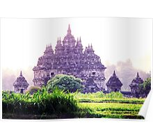 Plaosan Temple Indonesia when fog attack Poster