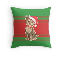 Yuletide Yorkie Throw Pillow