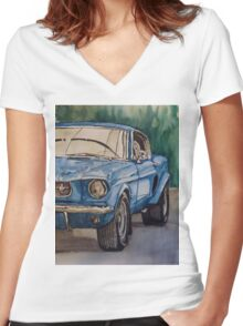 Vintage blue pony car antique muscle Women's Fitted V-Neck T-Shirt