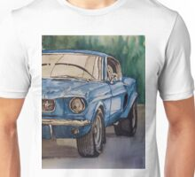 Vintage blue pony car antique muscle Unisex T-Shirt