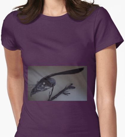 Last dead bird skull burning with a black flame feather Womens Fitted T-Shirt