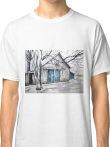 Blue door barn ink drawing with colored pencil Classic T-Shirt