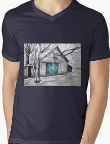 Blue door barn ink drawing with colored pencil Mens V-Neck T-Shirt