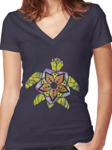 Watercolor Turtle Women's Fitted V-Neck T-Shirt