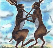 BOXING HARES  by Hares & Critters