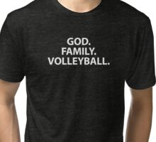 God Family Volleyball T-Shirt for Volley Player Family or Mom Tri-blend T-Shirt