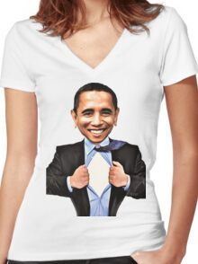 BARACK OBAMA CARTOON ! Women's Fitted V-Neck T-Shirt