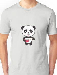 Cute Panda with rice bowl Unisex T-Shirt
