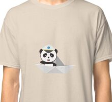 Captain Panda with paper boat Classic T-Shirt