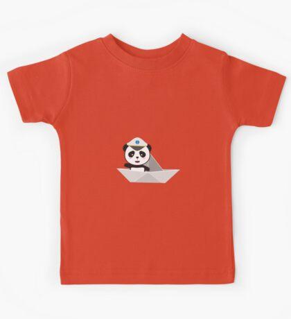 Captain Panda with paper boat Kids Tee