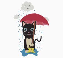 Cat in the rain with Umbrella Kids Tee
