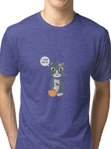 Construction Worker Cat Tri-blend T-Shirt