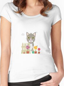 Cat in the garden with flowers   Women's Fitted Scoop T-Shirt