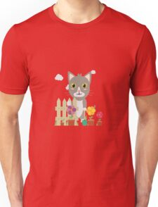 Cat in the garden with flowers   Unisex T-Shirt