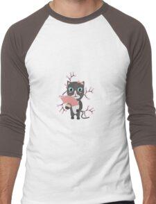 Japanese cat with cherry blossoms   Men's Baseball ¾ T-Shirt