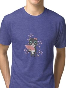 Japanese cat with cherry blossoms   Tri-blend T-Shirt