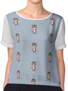 Japanese cat with cherry blossoms   Chiffon Top
