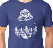 UFO buzzes Yeti in the forest Unisex T-Shirt