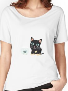 Cat with fish Aquarium   Women's Relaxed Fit T-Shirt
