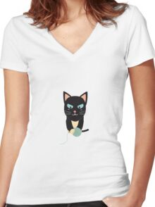 Cat with Ball of Wool Women's Fitted V-Neck T-Shirt