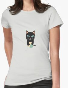 Cat with Ball of Wool Womens Fitted T-Shirt
