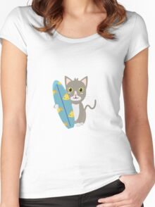 Cat with surfboard   Women's Fitted Scoop T-Shirt